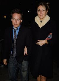 Tom Hollander and his guest at the party of