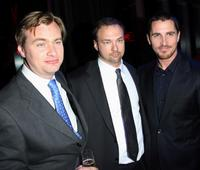 Christopher Nolan, Thomas Tull and Christian Bale at the after party of the world premiere of