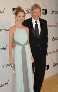 Calista Flockhart and Harrison Ford at the 16th Annual Elton John AIDS Foundation Academy Awards viewing party.