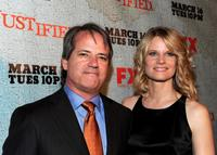 Graham Yost and Joelle Carter at the premiere of