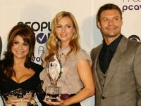 Paula Abdul, A.J. Cook and Ryan Seacrest at the 34th Annual People's Choice Awards Nominations Announcements and Party.