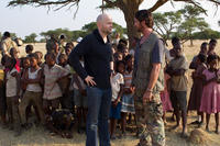 Director Marc Forster and Gerard Butler on the set of