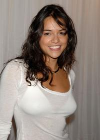 Michelle Rodriguez at the Tommy Hilfiger Collection 2008 Fashion Show.