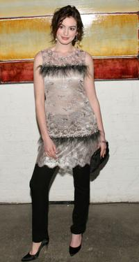 Anne Hathaway at the Barrow Group's 11th Annual Celebrity Scribbles and Doodle's Auction.
