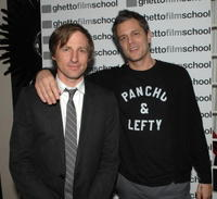 Spike Jonze and Johnny Knoxville at the Ghetto Film School's 2008 Hollywood Benefit.