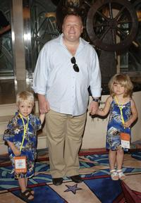 Larry Joe Campbell and his children Nathan and Gabriel at the Disney's Make-A-Wish Fundraiser
