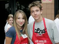 Ashley Edner and Bobby Edner at the Los Angeles Mission's Christmas meal for the homeless.