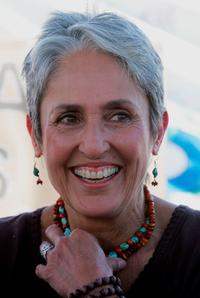 Joan Baez at the meeting with family members that lost their loved ones in Iraq during the continuing anti-war rally.