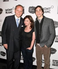 Jan-Patrick Schmitz, Rachel Dratch and Justin Long at the after party for opening night of the 8th Annual 24 Hour Plays on Broadway presented by Montblanc.