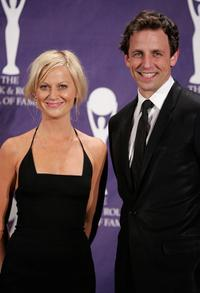 Amy Poehler and Seth Meyers at the 22nd annual Rock And Roll Hall Of Fame Induction Ceremony.