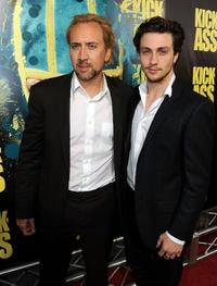 Nicolas Cage and Aaron Johnson at the premiere of