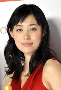 Kazue Fukiishi at the display of the skin care and anti-aging product brand