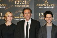 Diane Kruger, Nicolas Cage and Justin Bartha at the press conference to promote