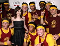 Ellen Page and high school track team joggers at a screening of