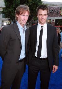 Director Michael Bay and Josh Duhamel at the premiere of