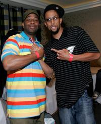Joe Clair and Affion Crockett at the GEM luxury gift lounge in celebration of BET Awards.