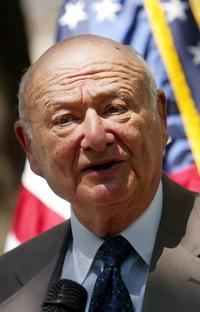 Ed Koch at the press conference celebrating the