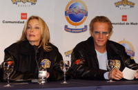 Christopher Lambert and Bo Derek at the news conference for the inaugauration of the new Warner Amusement Park.