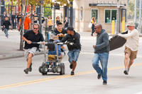 Taylor Lautner on the set of