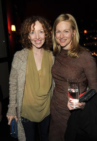 Darlene Hunt and Laura Linney at the Showtime's Golden Globe nominees cocktail reception in California.