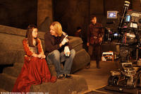 Georgie Henley, Andrew Adamson, Skandar Keynes, William Moseley on the set of
