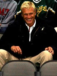 Dolph Lundgren at the game between San Jose Sharks and Dallas Stars.