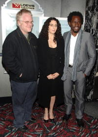 Philip Seymour Hoffman, director Tamara Jenkins and Gbenga Akinnagbe at the New York premiere of