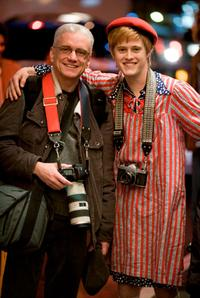 Real-life gay rights activist Danny Nicoletta and Lucas Grabeel on the set of