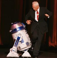 Malcolm McDowell and C3PO at the Jules Verne Adventure Film Festival.