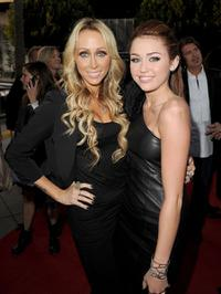 Tish Cyrus and Miley Cyrus at the California premiere of