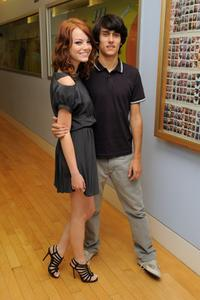 Emma Stone and Teddy Geiger at the MTV TRL Presents Miley Cyrus and Teddy Geiger.
