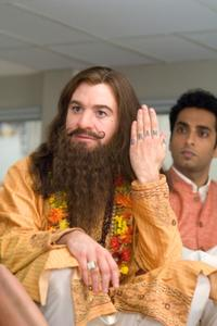 Mike Myers as Guru Pitka and Manu Narayan as Rajneesh in