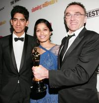 Dev Patel, Freida Pinto and director Danny Boyle at the Fox Searchlight Oscar after party of