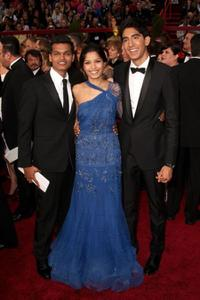 Madhur Mittal, Freida Pinto and Dev Patel at the 81st Annual Academy Awards.