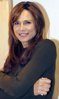 Lena Olin at the art exhibit opening at the Swedish Gallery/Shop.