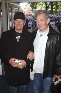 Steven Berkoff and Sir Ian McKellen at the UK premiere of