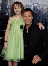 Joey King and Aaron Eckhart at the California premiere of