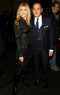 Natasha Richardson and Gilles Mendel at the backstage of J Mendel Fall 2007 fashion show.