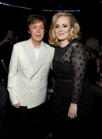 Paul McCartney and Adele at the 54th Annual GRAMMY Awards in California.