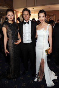 Gianna Jun, Rob Lowe and Bing Bing Li at the cocktail reception of