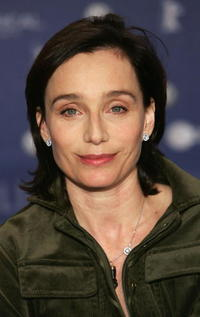 """Kristin Scott Thomas at a press conference for the film """"Man to Man"""" in Berlin, Germany."""