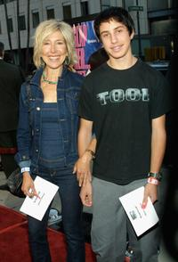 Lin Shaye and her son at the premiere of