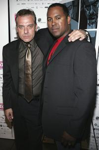 Tom Sizemore and Michael J. Olmos at the premiere of