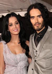 Katy Perry and Russell Brand at the premiere of
