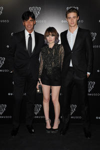 Gucci CEO Patrizio di Marco, Emily Browning and Max Irons at the Gucci Museum opening in Florence.