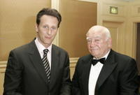 Steven Weber and Ed Asner at the cocktail reception before the Cure Autism Now's 10th Anniversary Gala.