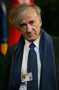 Elie Wiesel at the press conference during the Interfaith Leaders delegation meeting.