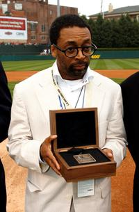 Spike Lee at AutoZone Park in Memphis with his Beacon award.