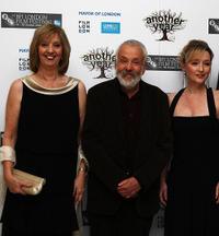 Ruth Sheen, Mike Leigh and Lesley Manville at the premiere of