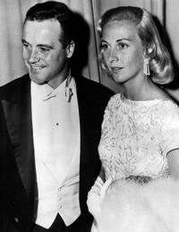 Jack Lemmon and his wife at the 28th annual Academy awards.